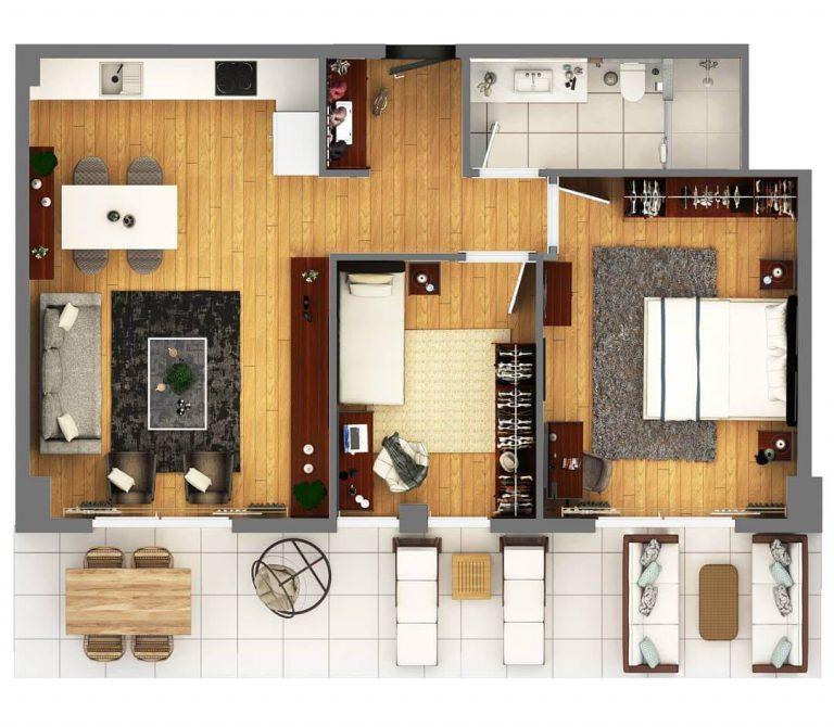 2 + 1 Terrace Suit 110 m2