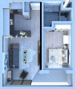 Floor Plan Type 3 (54m2) - Apartments with Rooftop Pool for sale in Antalya